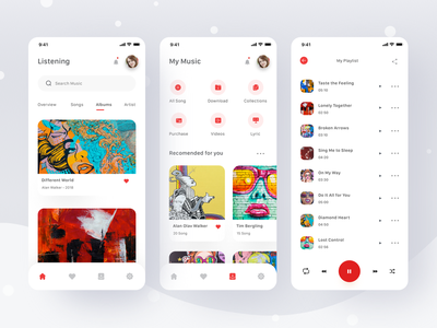 Music App clean ui itunes spotify album sing song podcast lyric videos music video ui clean card profile mobile ios app