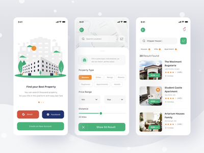 Property App notification search filter home property apartment login booking hotel rent villa house location clean card profile mobile ios app