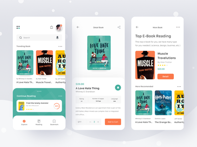e-Book Store App search cart reading read ebook books money login booking ui clean card profile mobile ios app