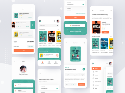 e-Book Store App cart ebook search sidemenu login shop store book ui clean card profile mobile ios app