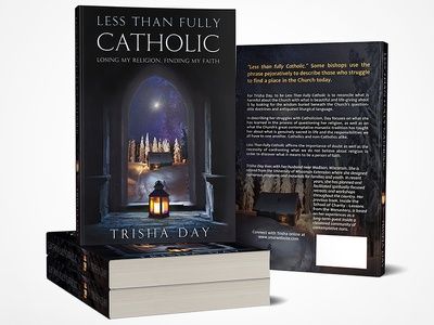 Less Than Fully Catholic - book cover design book cover catholic thoughtful serene evocative journey dramatic religious