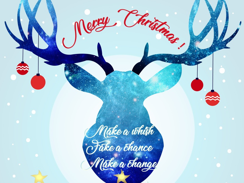 Xmas Card - Justine Montreuil red blue xmas drawing illustrator animal creative christmas card vector design illustration