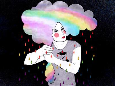 Rainbow Woman - Sofia Bonati Model - Justine Montreuil photoshop colourful rainy black background rainbow student artwork illustrator drawing