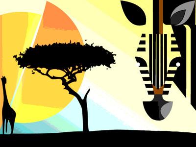 Zebra in the savannah - Justine Montreuil photoshop illustration yellow orange black linework lineart animal sunset savannah zebra