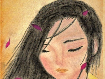 Japanese portrait with chalk - Justine Montreuil