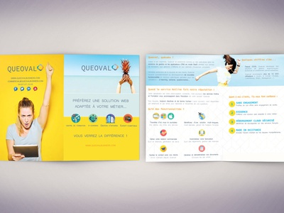 Product Brochure for a Software Publisher Justine Montreuil yellow blue summertime product brochure brochure brochure design product page