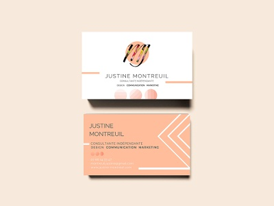 Mockup Business Card Justine Montreuil marketing communication logo freelance business card design business card mock up