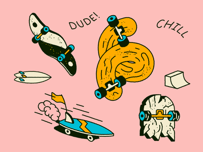 Skater boy rockin' up MTV 🛹 stickers icon surfboard summer mtv skateboarder dude chill surfing skateboard jump doodle surf skate