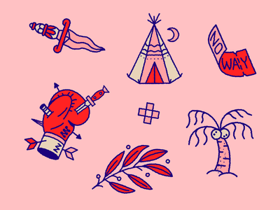 👁👄👁 coconut bullets arrow sticker fight sword boxe eggdoodle icondesign icon noway teepee leaf dagger illustration tattoo doodle palm ticket tent