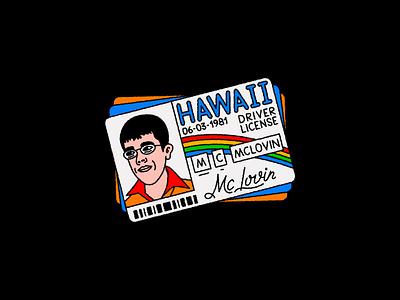 Happy 40th Birthday Mclovin! eggdoodle artwork comedy hawaii vehicle car editorial typography superhero drivinglicense jonahhill sethrogen mclovin doodle illustration portrait character movie film superbad
