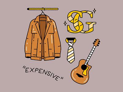 Sergio Georgini lettering type typography iconic icondesign artwork music guitar davidbrent rickygervais tvseries theoffice gold shirt jacket fashion illustration doodle eggdoodle icon