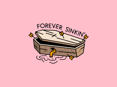 Forever Sinkin' 🥴 illustration lettering typography patch enamelpin badge tattoo doodle vehicle metal gold water wood icon logo music death coffin pumpkin halloween