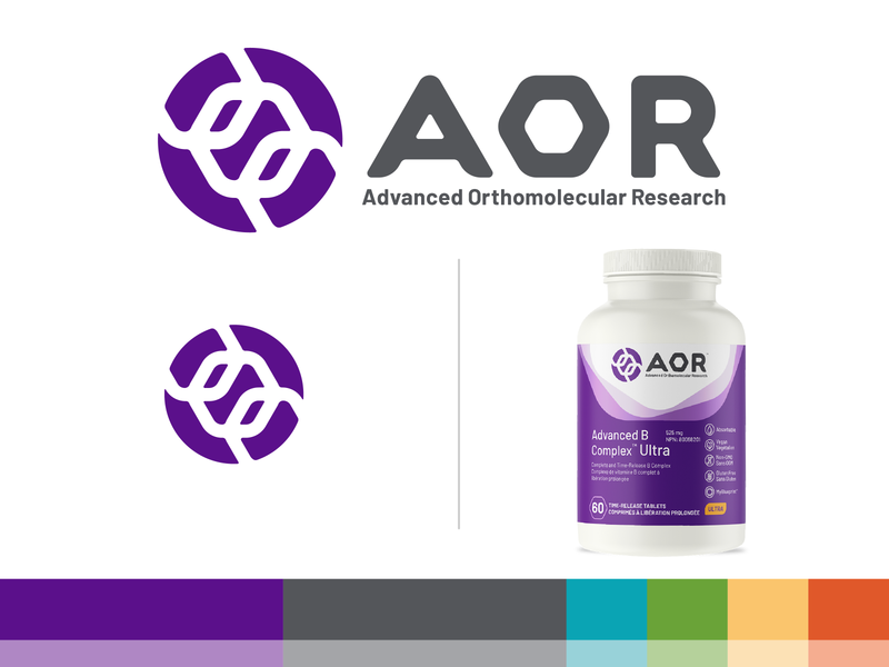 AOR — Advanced Orthomolecular Research Brand Identity logo package design nutraceuticals hexagons branding and identity branding collateral label pills natural products chemistry supplements vitamins dietary supplements