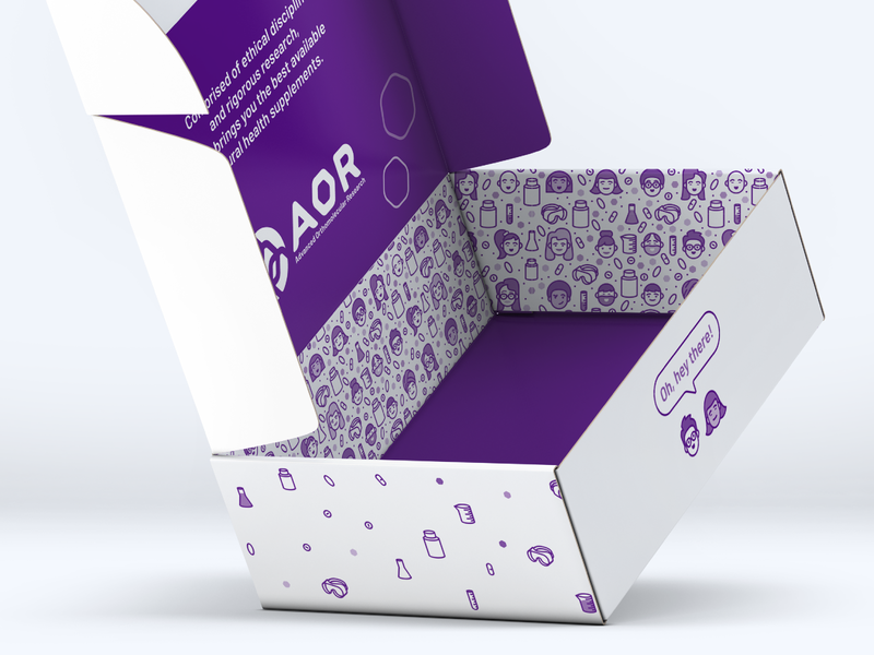 AOR Press Mailer Box pattern icons packaging vitamins dietary supplement nutraceuticals nutraceutical