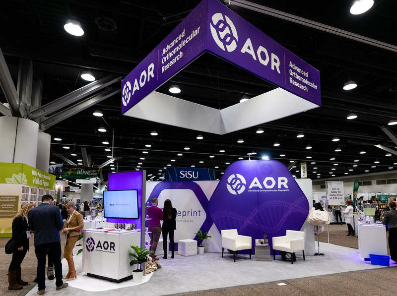 AOR at CHFA package design packaging branding brand identity design vitamins dietary supplements nutraceutical trade show display conference booth conference trade show booth trade show