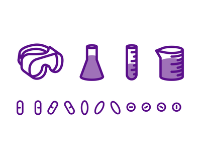 Science Icons iconset iconography safety goggles capsules pills medicine test tube beaker chemistry biology science icons science icons