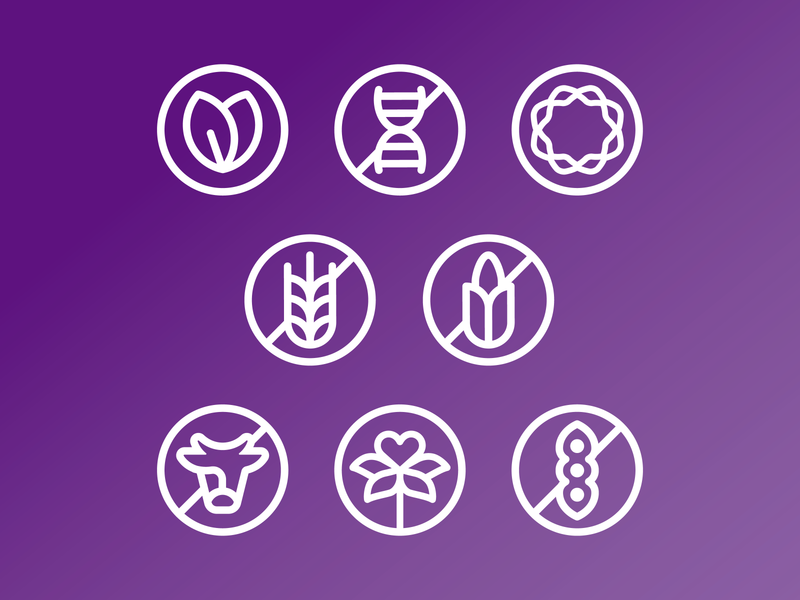 Dietary Icons icongraphy icons leaf plants cow soy bean gluten free wheat dna strand corn dog soy free vegetarian vegan