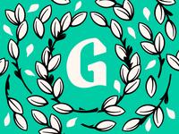Floral G Monogram vines illustration type design letter design leaves floral g monogram monogram