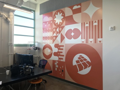Office Mural Installed murals environmental design wall design office mural mural