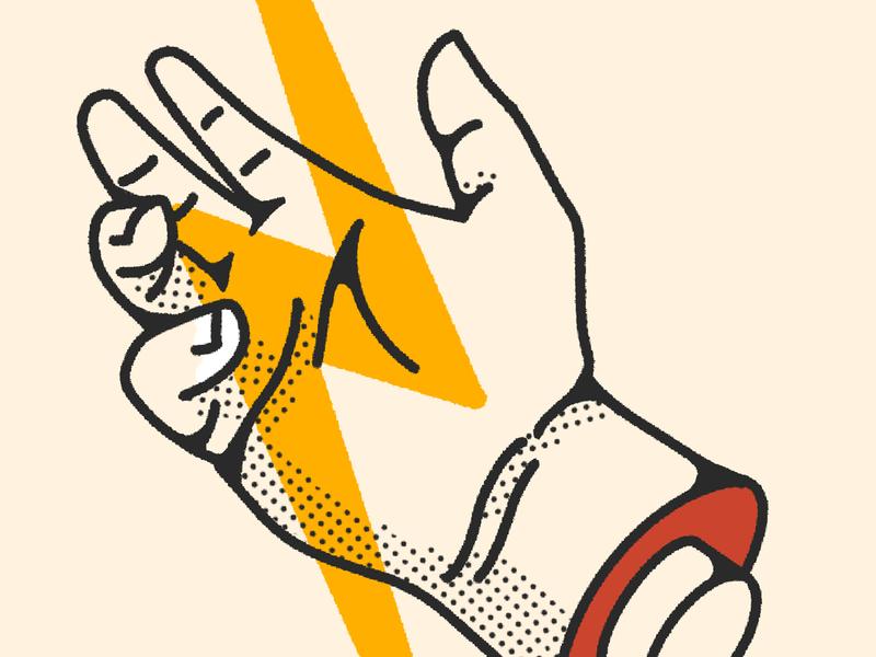 Catch Ligtning thunder palm hand electricity lightning bolt illustration severed hand