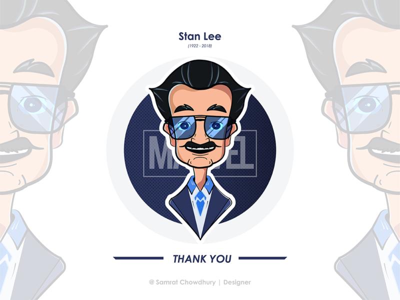 Stan Lee Illustration (1922-2018) (R.I.P) stan lee marvelcomics comic marvel stanlee samratchowdhury design digitalart vector illustration