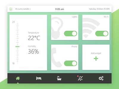 DailyUI 021 - Home Monitoring Dashboard green light dashboard home 021 dailyui