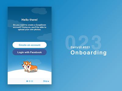 DailyUI #023 - Onboarding corgi dogs blue clean app onboarding 023 dailyui
