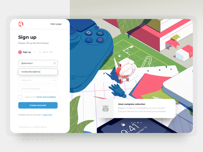 Hobby Marketplace Register Page vector clean ecommerce marketplace web 2d colorful toys hobby signup form register screen illsutration design ux ui