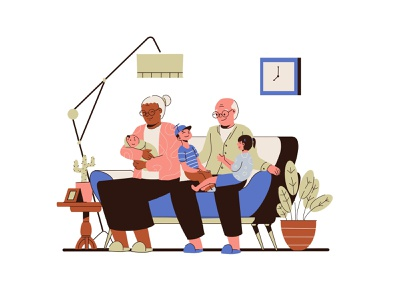 Family Illustration banner hero website vector clean 2d line tree child family drawing illustration