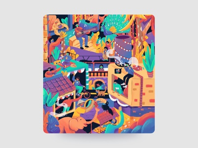 A Good Day Illustration interaction city animals fauna pandemic happy crowd design colorful illustration