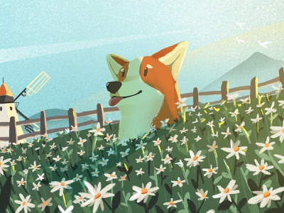 Sunday Morning Field painting morning dawn animal dog drawing scenery landscape windmill field flower illustration corgi