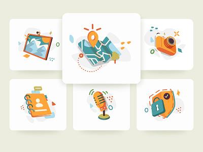 Travel App Illustration Pack illustrator cartoon 2d mobile card trees travel vector app screen clean ui illustration design
