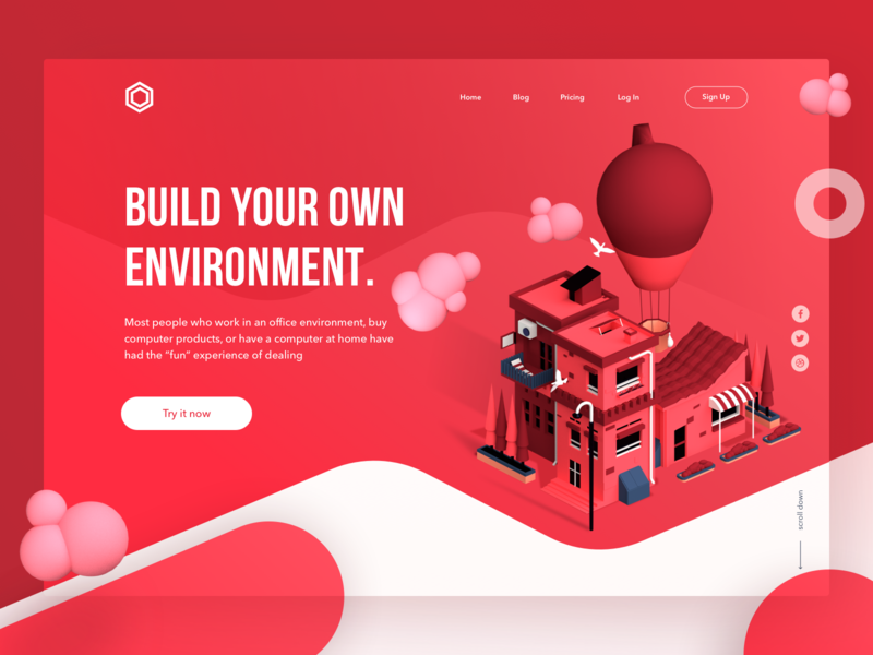 Real Estate Landing Page debut air balloon real estate blender modelling 3d page landing web ui design illustration