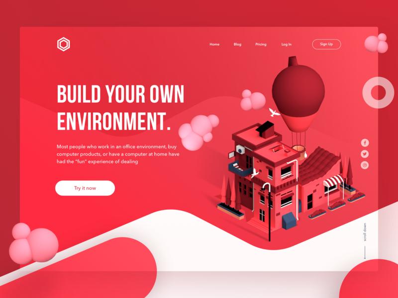 Real Estate Landing Page debut air balloon real estate blender modelling 3d page landing web ui design illustration