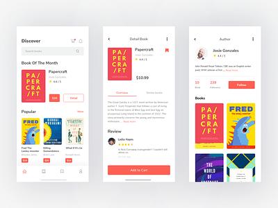 Bookstore App Exploration iphonex mobile concept screen uidesign clean bookstore ui app