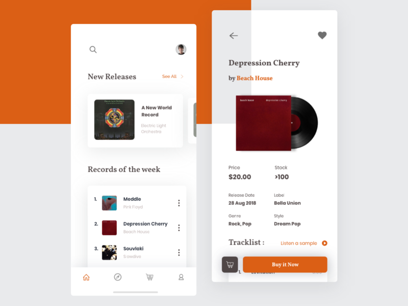 Exploration : Vinyl Records Store App shop clean album screen ecommerce design play rare music records moblie store vinyl app ui
