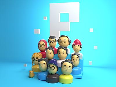 Pixelz Studio Team on 3D design gloss illustration blender pixel people avatar plastic clay model 3d
