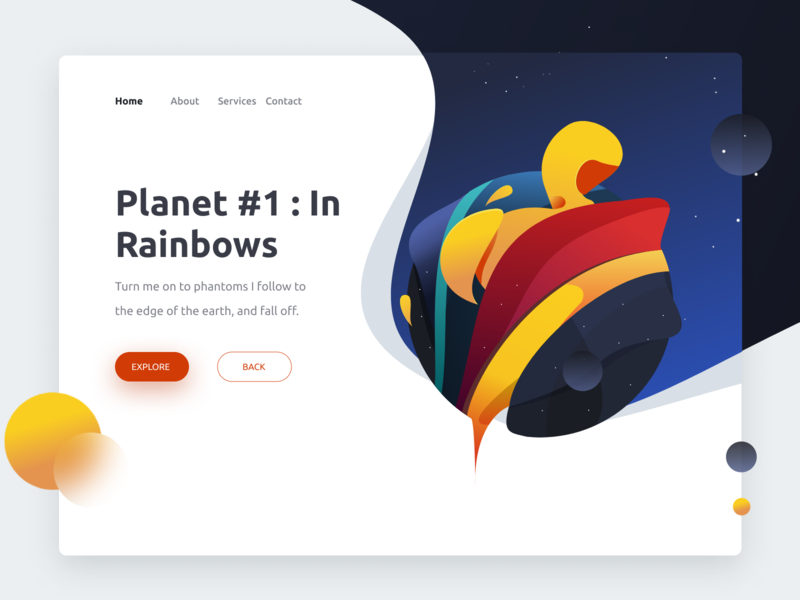 Exploration : Planet In Rainbows radiohead music album planet space vector clean screen illustration design ui
