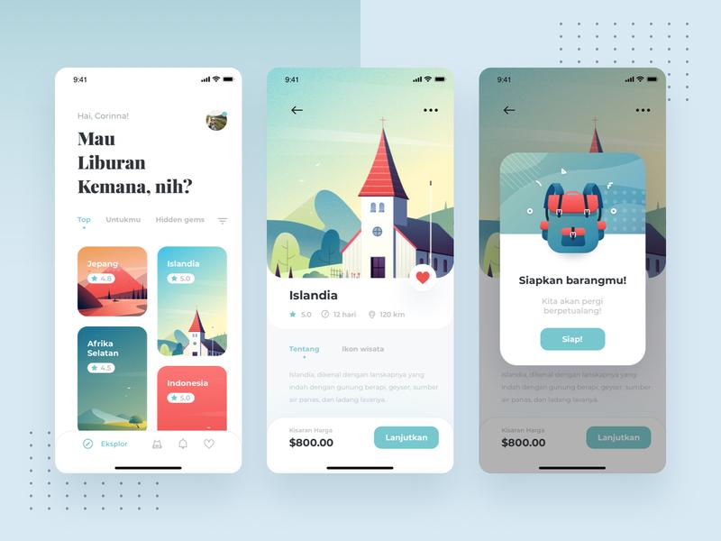 Traveling App clean screen trip design ui mobile illustration icons adventure travel app