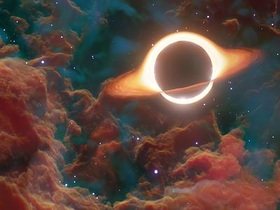 Black Hole art 3d render sky clouds star black hole nebula physics 3d space