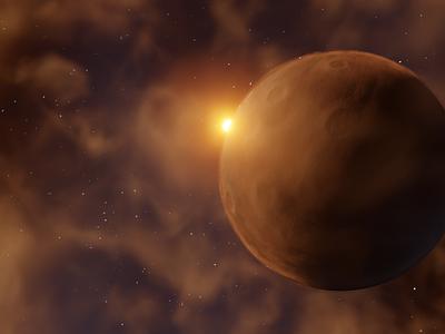 Arid Planet 3d render 3d art stars sun nebula mars moon crater planet space