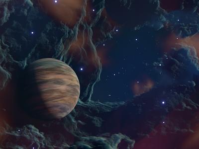 Gas Planet simulation stars nebula planet 3d render 3d art space