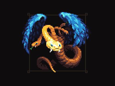 Chalkydri biblical angel viper wings hydra snake mythical creature mythical greek art pixelart pixel