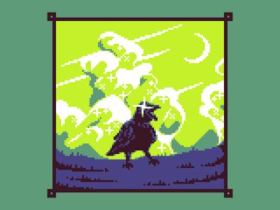 Raven clouds bird raven logo illustration landscape art pixelart pixel