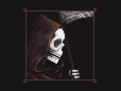 The Reaper shadow dark cloth scythe bones skeleton reaper logo illustration pixelart pixel