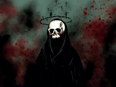 Sorrow dramatic blood illustration cloak skull digital painting