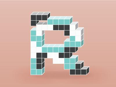 Tetris themed letter R illustration lettering letter
