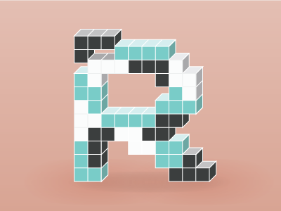 Tetris themed letter R illustration lettering letter