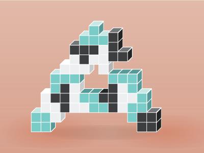 Tetris themed letter A a tetris illustration lettering letter
