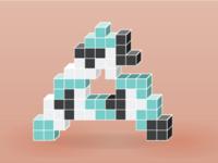 Tetris themed letter A